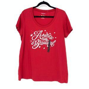 Torrid 0 US Sz L T-Shirt America The Beautiful